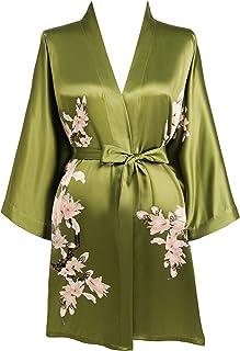 BABEYOND Damen Morgenmantel Blumen Gedruckt Sommer Bademantel Kimono Kurz Robe Leicht Schlafmantel Damen Satin Strandkleid