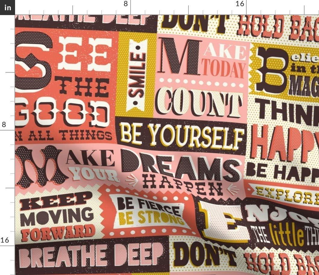 高額売筋 Spoonflower Fabric - Affirmations 購入 Pink Retro Printed Typography