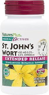 NaturesPlus Herbal Actives St John's Wort, Extended Release - 450 mg, 60 Vegan Tablets - Natural Mood Enhancer Supplement...