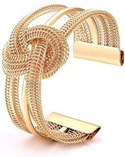 BSJELL Knot Cuff Bracelet Wide Open Cuff Bangle Bracelet Metal Twisted Hollow Hoop Bangles Cuff Jewelry for Women Girls