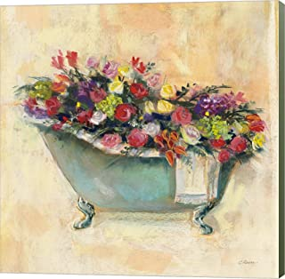 Bathtub Bouquet I by Carol Rowan Canvas Art Wall Picture, Museum Wrapped with Sage Green Sides, 26 x 26 inches