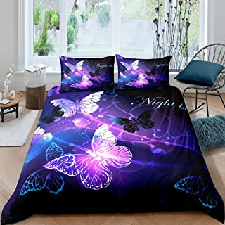 Butterfly Bedding Set, Fantasy Butterflies Fairy Monarch Inspiration Animal Dreamlike Night Garden Theme Comforter Cover, Decorative 3 Piece Duvet Cover With 2 Pillow Shams, King Size, Teal Purple