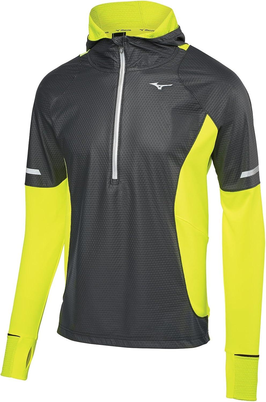 (Medium, Black Yellow)  Mizuno Running Men's Static Breath Thermo Half Zip Windtop Jacket