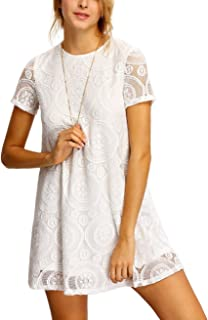 Jollymoda Women's Plain Short Sleeve Floral Summer Floral Lace Prom Party Shift Dress