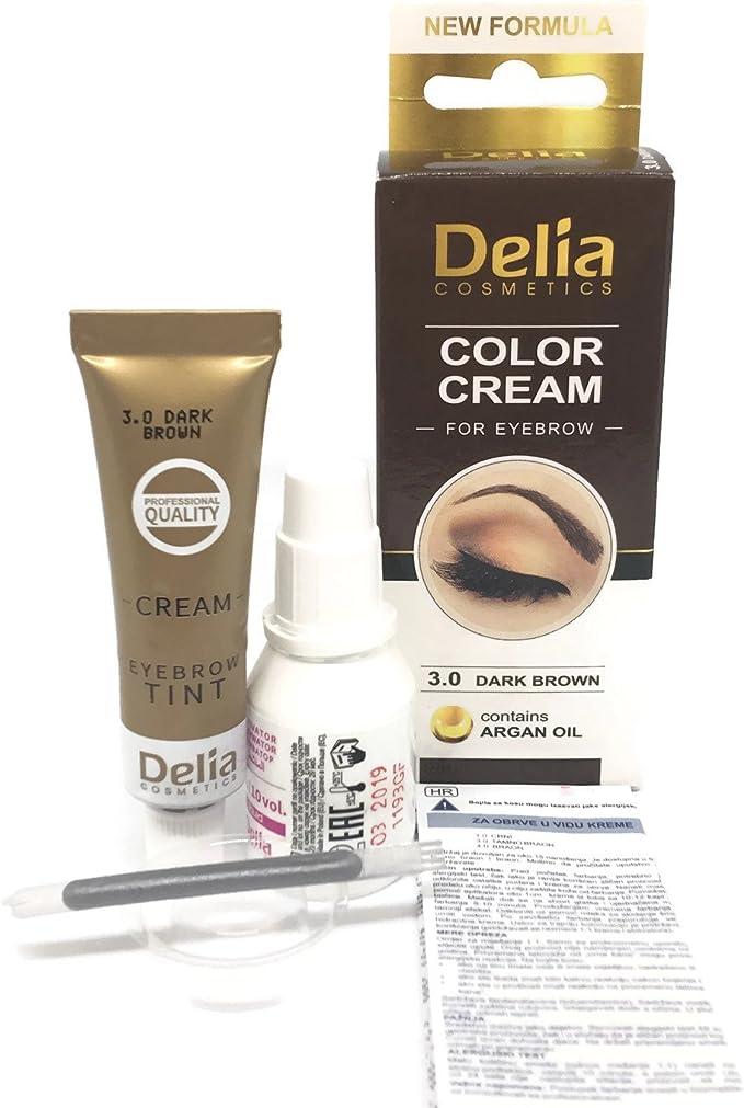 Tinte profesionales para cejas y pestañas profesionales, 15ml KIT Delia Negro/Marrón/Marrón Oscuro (Marrón Oscuro)