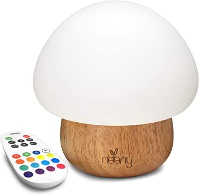 Neeny Baby Night Light w 16 Colors Remote Control Mushroom LED Wooden Adjustable Brightness & RGB Colors USB Silicone Kids Baby Table Bedside Bedroom lamp