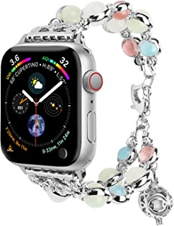 for Apple Watch Band 38mm/40mm 42mm/44mm Series 5 4 3 2 1, Adjustable Wristband Handmade Night Luminous Pearl iWatch Bracelet with Essential Oil/Perfume Storage Pendant for Women/Girls