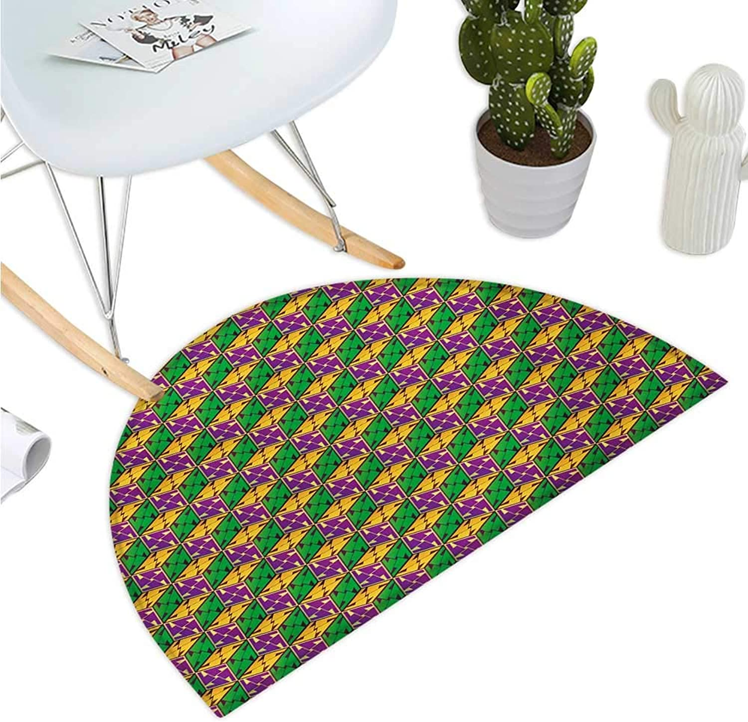 Abstract Semicircular Cushion Geometric Cube Square Boxes Hexagonal Abstract Effects Print Entry Door Mat H 39.3  xD 59  Fuchsia Earth Yellow Lime Green