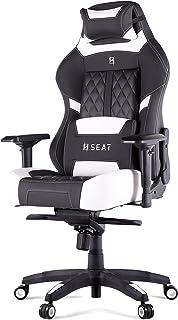 N. Seat Pro 600 符合人体工程学的游戏/办公椅带腰枕和靠枕枕,PVC 皮革,碳纤维装饰,黑色/黑色