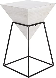 """Deco 79 14""""/24"""" Wood And Metal Square Accent Table, 14"""" x 24"""", White/Black"""