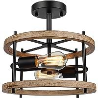 Deals on Lakumu 2-Light Retro Semi Flush Mount Ceiling Light Fixture