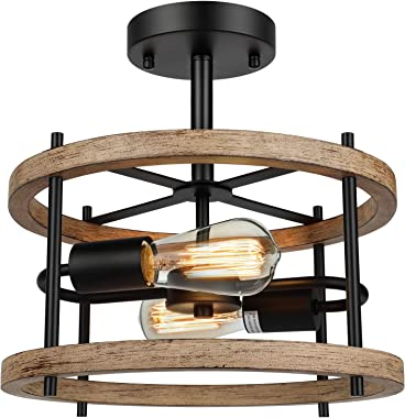 2-Light Retro Semi Flush Mount Ceiling Light Fixture, Rustic Vintage Wood Ceiling Light, Black Metal, Industrial Farmhouse Ce