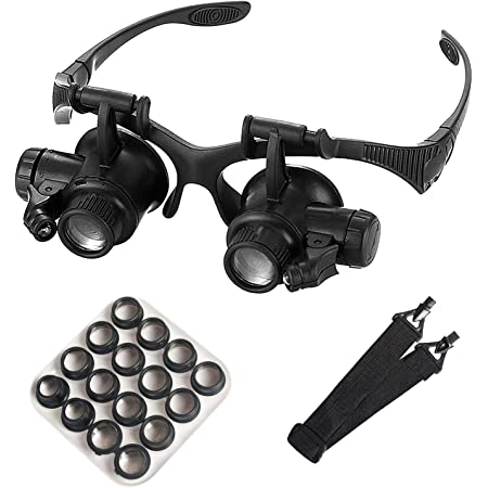 mlogiroa Head Mounted Magnifier with LED Light, Jewelers Loupe Magnifying Glasses with 8 Interchangeable Lens: 2.5X/4X/6X/8X/10X/15X/ 20X/25X for Close Work/Electronics/Eyelash/Crafts/Jewelry/Repair