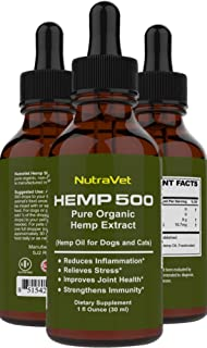 Hemp Oil for Dogs -- Cat and Dog Anxiety Relief. All Natural Dog Calming aid - for Cats too. Joint Supplement for Dogs and Cats including Omega 3 6 9 fatty acids -- Pain Relief for Dogs and Cats.