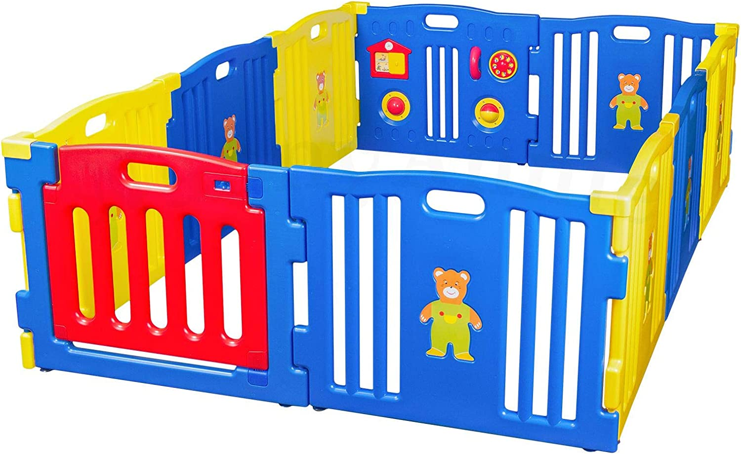 Giant Baby Playpen - bluee 10 Panels with Gate
