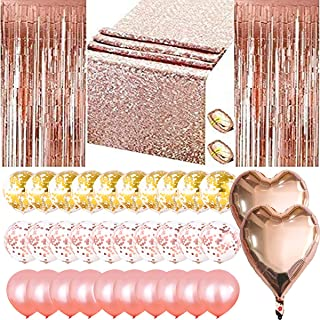 Moonmen Rose Gold Party Decoration Set, Include 2 Pieces Foil Fringe Door Curtains, 108 Inches Sequin Table Runner, 30 Pie...