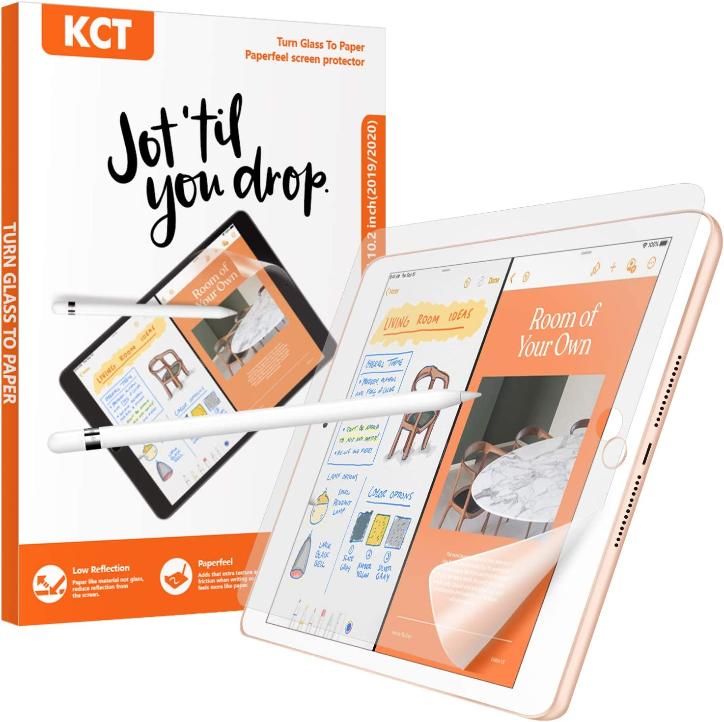 KCT [2 PACK] Paperfeel Screen Protector Compatible with iPad 9/8/7(10.2-Inch, 2021&2020&2019 Model, 9th 8th 7th generation),iPad 10.2 screen protector Matte PET Paperfeel Film No Glare Scratch Resistant Paperfeel Protector,Compatible with Apple Pencil