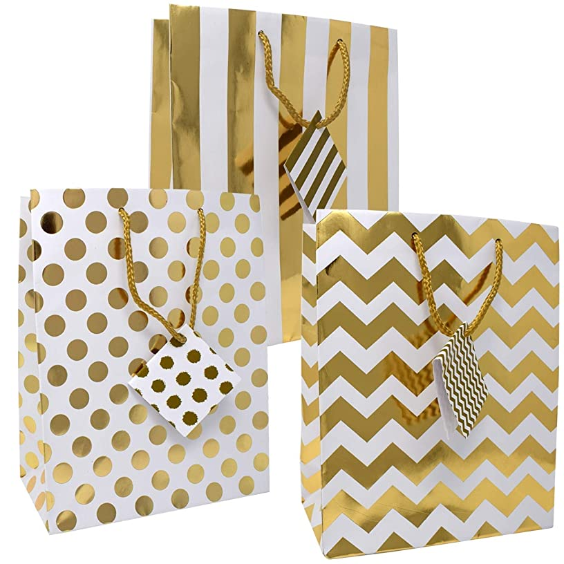 12 Large Metallic Gold and White Gift Bags for Women Baby Shower Birthday Wedding Graduation for Men Kids Girls Adults Boys Teens in Exquisite Designs: Polka Dots, Stripes & Chevron