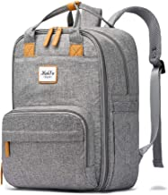 HaloVa Diaper Bag, Baby Nappy Backpack, Large Travel Shoulders Bag for Mommy Maternity Daddy, with Stroller Straps, Light Gray