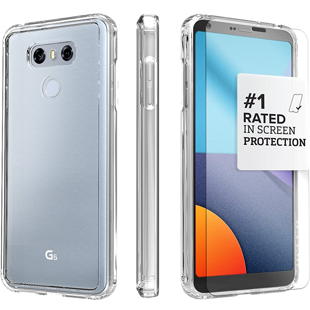 LG G6 Case, (Crystal Clear) SaharaCase Protective Kit Bundle with [ZeroDamage Tempered Glass Screen Protector] Premium Finish Slim Fit [Shockproof Bumper] Rugged Protection - Clear