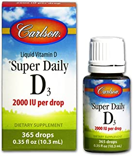 Carlson - Super Daily D3, Vitamin D Drops, 2,000 IU per Drop, 1-Year Supply, Vitamin D3 Liquid, Heart & Immune Health, Veg...
