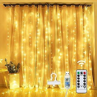 Guirlande Lumineuse Rideau,OMERIL Rideau Lumineux USB Dimmable 3 * 3m,8 Modes d'Eclairage, avec Minuterie,Crochets et Télé...