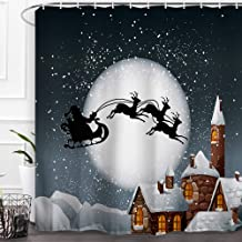 """Baccessor Merry Christmas Shower Curtain Happy New Year Winter Season Santa Claus Flying Reindeer Sleigh in Snowy Full Moon Night Decor with Hooks for Kids, 72"""" W x 72"""" H - Xmas White Snow House"""
