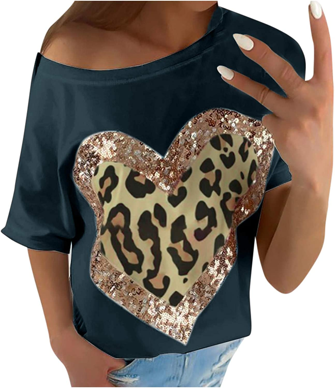 Shirts for Women Wholesale Sexy Casual Today's only Women's Round Leo Sequin Love Neck