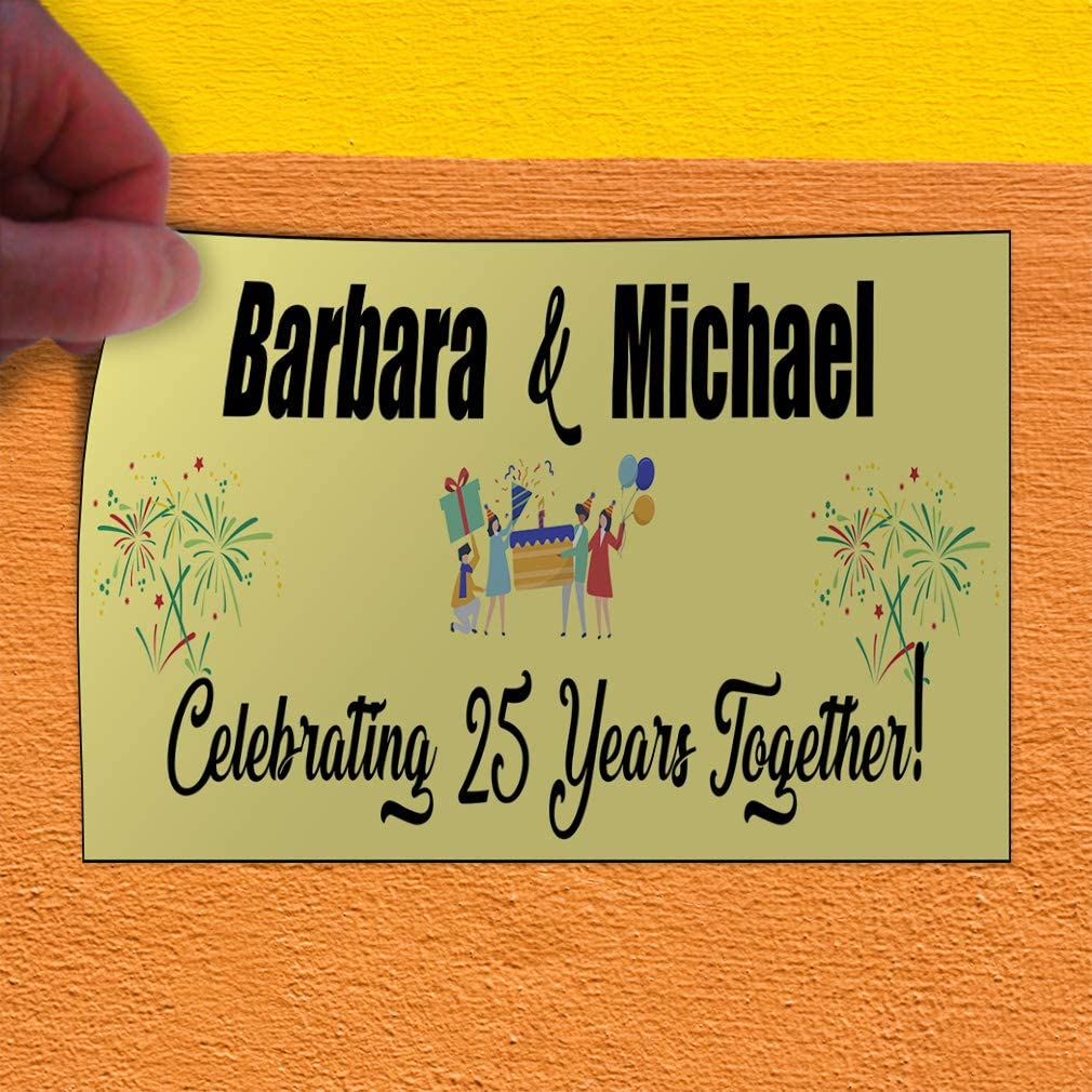 Custom Door Decals Vinyl Stickers Multiple Sizes Names Celebrating Anniversary Together Lifestyle Happy Anniversary Outdoor Luggage /& Bumper Stickers for Cars Yellow 45X30Inches Set of 2