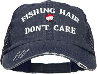 e4Hats.com Fishing Hair Don`t Care Embroidered Cotton Mesh Cap