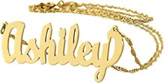 Dainty Name Necklace 10k Gold Personalized Pendant Chain 1.25 Inch Charm