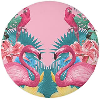Indoor/Outdoor Round Chair Cushion Flamingos Flower Palm Pink Summer Holiday - 100% Memory Foam Patio/Office/Kitchen Breathable Seat Pad, 16 Inches Home Decor Round Butt Cushion for Living Room