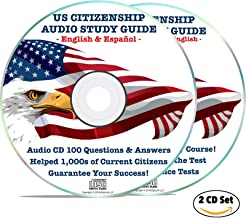 US Citizenship Study Guide 2019 Naturalization Test Audio CD (2 Disks): Book, Course | 100 Civics Questions & Answers in American English & Spanish Español USA Citizen Prep Practice EEUU