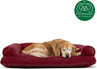 Furhaven Pet Dog Bed | Quilted Pillow Cushion Traditional Sofa-Style Living Room Couch Pet Bed w/ Removable Cover for Dogs & Cats, Wine Red, Jumbo