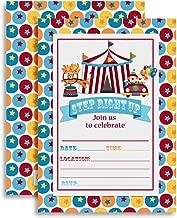 Carnival Circus Invitations, Birthday or Baby Shower, Twenty 5