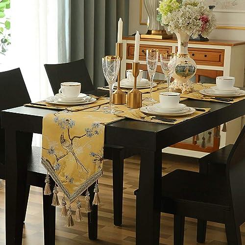 Style européen de Jane avec le drapeau de table à pique suspendue, bleu jaune en option, décoration de salle de séjour (Couleur   Le jaune, taille   32X220CM)