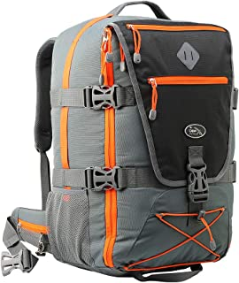 Equator 2.0 Flight Approved Backpack with Rain cover, perfect hiking backpack and travel backpack - 22x14x9 compatible with American Airlines (Grey/Orange)