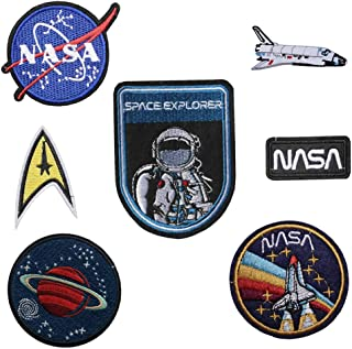 TENNER.LONDON Set of 7 Iron on/Sew On Astronaut Embroidered Patch NASA Space agancy Applique Space Explorer Craft Embroidery Motif Transfer 7 Set Astronaut