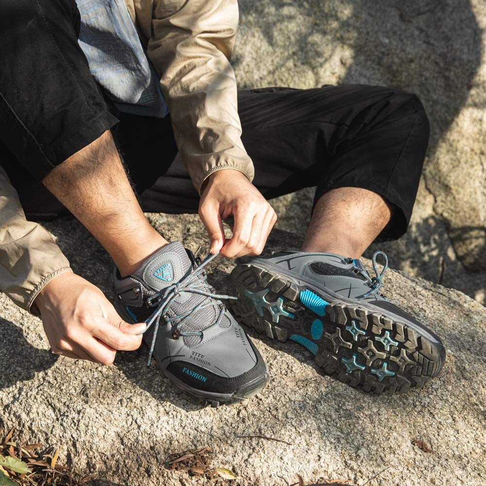 Hitmars Wanderschuhe Herren Atmungsaktiv Trekkingschuhe Leicht Outdoorschuhe Anti-Rutsch Outdoor Sportlich Schn/üren Schwarz Blau Gr/ün Braun Gr/ö/ße 36-48