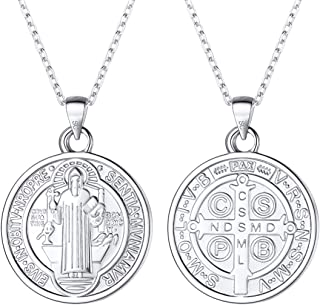 Saint Benedict Medal Necklace 18K Gold or 316L Stainless Steel Christian Sacramental Medal Ward Off Evil Protection Jewelry Catholic Gift for Men Women, Offer Custom Engrave on Clasp