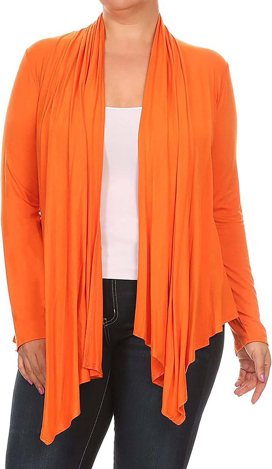 Women's Plus Size Solid Casual Long Sleeve Drape Open Front Jacket Cardigan/Made in USA
