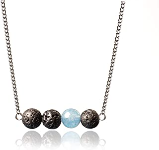 Lava Stone Diffuser Necklace for Women with Stainless Steel Chain, Used as Anxiety Necklace