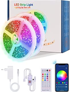 【20M WiFi】Alexa LED Strip 20M, Lijun TikTok WiFi RGB Selbstklebend LED Streifen Steuerbar via Tuya App und Fernbedienung 5...