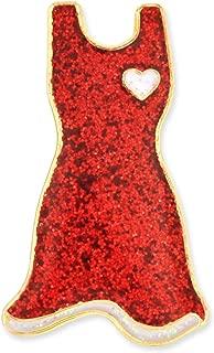 Glitter Red Dress American Heart Month Enamel Lapel Pin