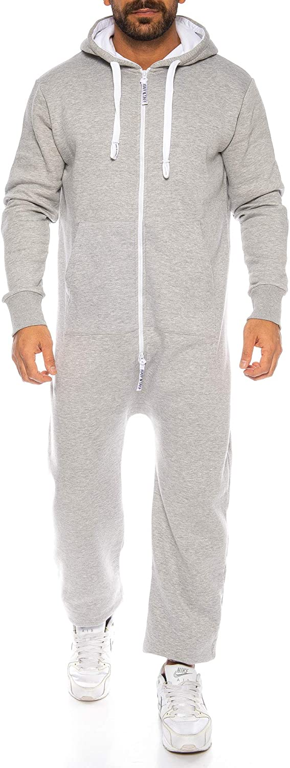 Raff /& Taff Mens Jumpsuit Tracksuit Fitness Clothing Onesie Full Body Suit Basic and Simple