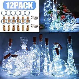 12 piezas de luz de botella LED, 20 LED 2M cadena de luz de botella, luces de hadas, botella de vino luz de noche para botella DIY, fiesta, Navidad, Halloween, decoración de bodas (Blanco frío)