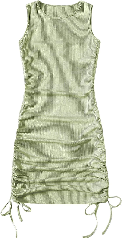 SOLY HUX Women's Sleeveless Bodycon Mini Dress Drawstring Ruched Solid Crew Neck Tank Dress