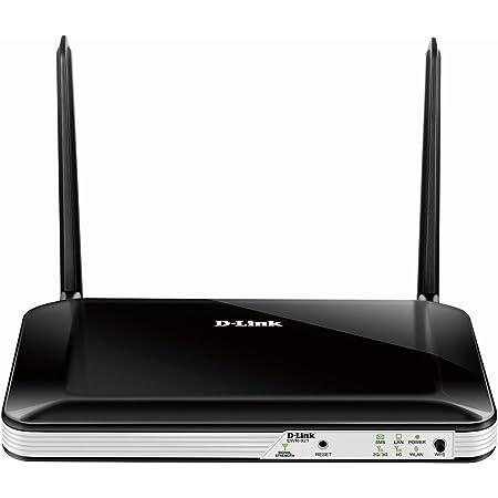 D-Link DWR-921 - Router wireless 4G/LTE N300 (3G, 300 Mbps, WPS, 4 puertos LAN RJ-45 Fast Ethernet 10/100 Mbps, 1 puerto WAN 10/100 Mbps, ranura SIM de datos, WPA2, antenas extraíbles), color negro
