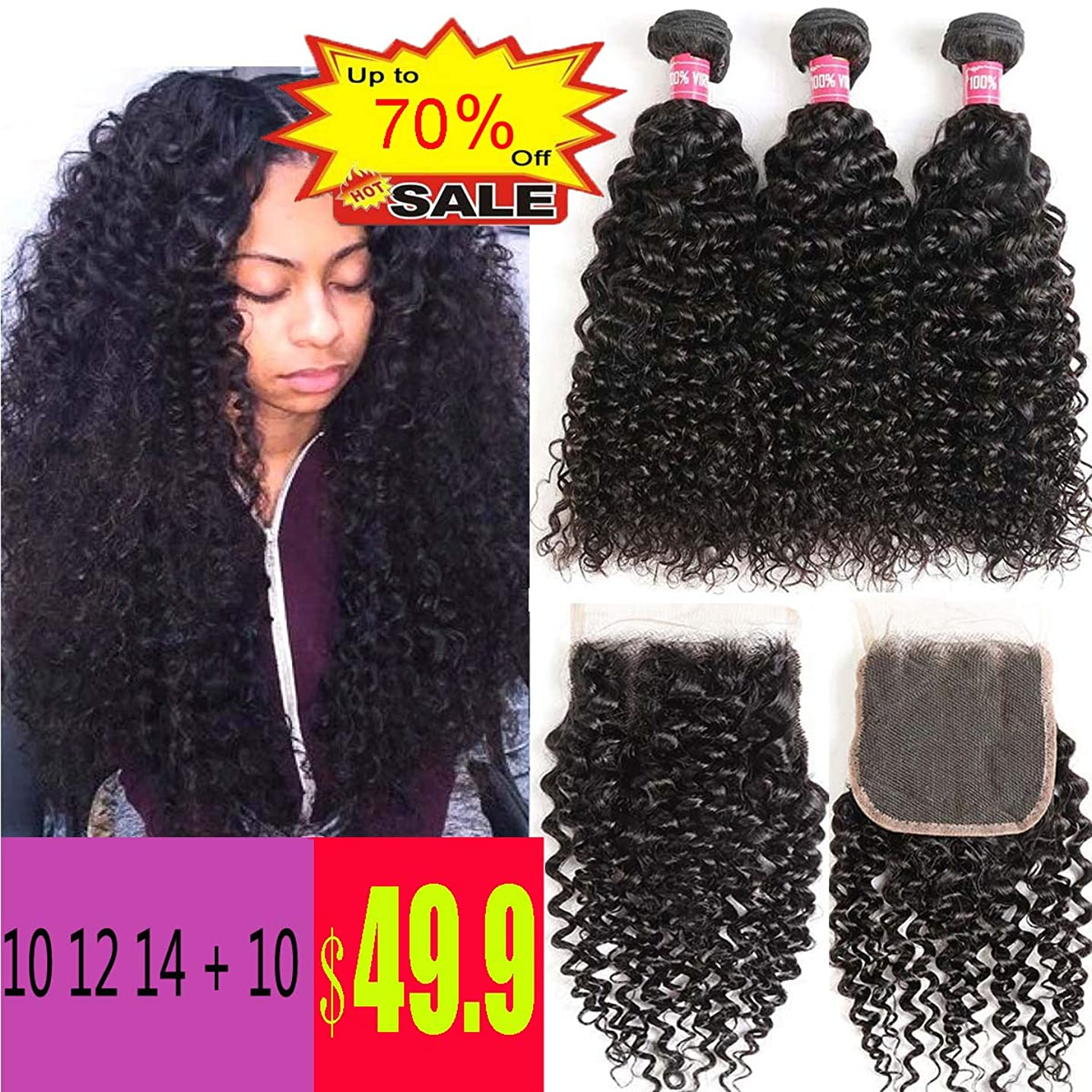 WENYU Brazilian Virgin Kinkly Curly Hair 3 Bundles with Lace Closure Brazilian Kinky Curly Human Hair Extensions Curly Weave Bundles with 4 x 4 Lace Closure Natural Black Color(10 12 14+10Free Part)
