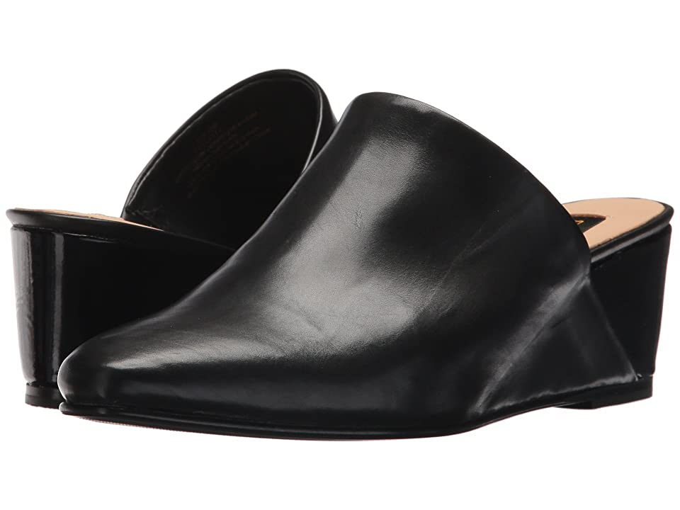 Donna Karan Mercer Wedge Mule (Black Baby Calf/Patent) Women